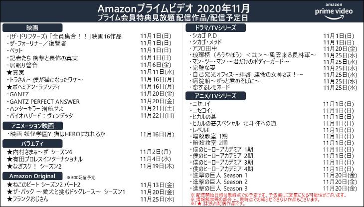 プライムビデオ2020年11月配信予定作品
