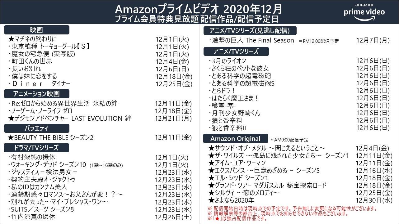 プライムビデオ2020年12月配信予定