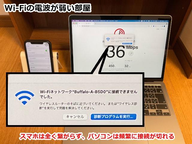 Wi-Fiのつながらない部屋