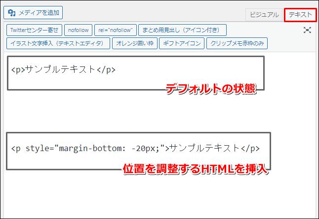 位置を調整するHTML